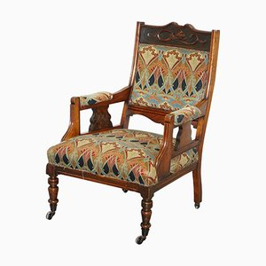 Antique British Walnut Wood Ianthe Armchair