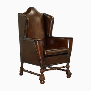 Antique Dutch Brown Leather Wingback Chair