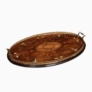 Antique Edwardian Mahogany Inlaid Tray
