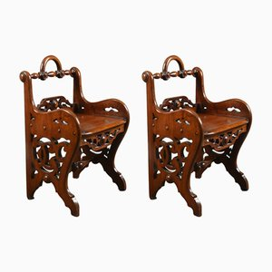 Antique Victorian Mahogany Hall Chairs, Set of 2