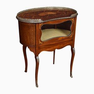 Antique Edwardian Inlaid Mahogany Kidney Shaped Cabinet