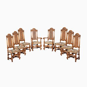 Antique Carolean Style High Back chairs, Set of 8