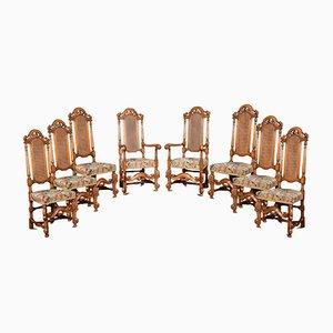 Chaises à Dossier Haut Style Caroléen Antique, Set de 8