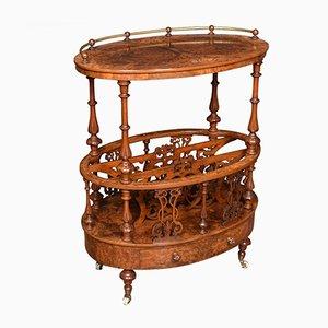 Ovaler antiker Cantebury Beistelltisch aus Nussholz