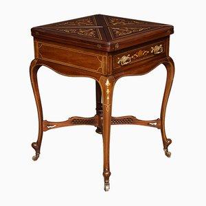Aufklappbarer Kartentisch aus Mahagoni mit Intarsien, 19. Jh.