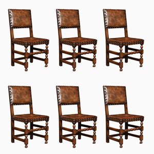 Antique Carved Oak Dining Chairs, Set of 6