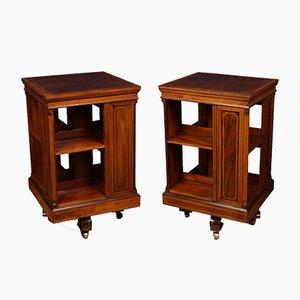 Antike edwardianische Drehbücherregale aus Mahagoni & Seidenholz mit Intarsien, 2er Set