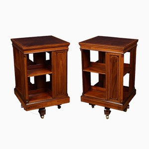 Antique Edwardian Mahogany & Satinwood Inlaid Swivel Bookcases, Set of 2