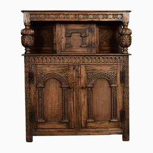 Antique Style Carved Oak Court Cupboard
