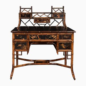 19th Century Bamboo Black Lacquered Desk