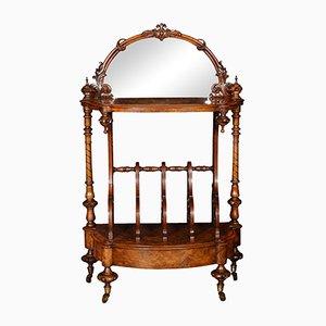 Antique Victorian Burr Walnut Veneered Canterbury