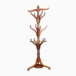 19th-Century Mahogany Coat and Umbrella Stand