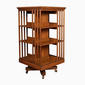Antique Edwardian Oak 3-Tier Swivel Bookcase