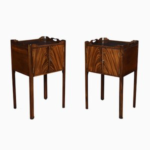 Antique George III Style Mahogany Bedside Cupboards, Set of 2