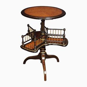 Tisch mit Buchständer aus Dammarafichte & Wurzelebenholz, 19. Jh.