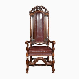 Antike Armlehnstühle aus Eichenholz mit hoher Rückenlehne, 2er Set