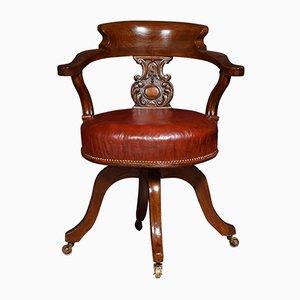 Antiker Kapitän Bürostuhl aus Mahagoni