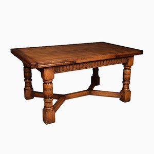 Large Oak Draw Leaf Refectory Table