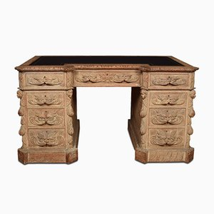 Limed oak carved pedestal desk