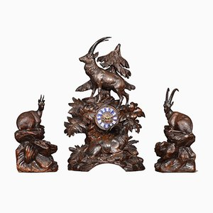 19th-Century Black Forest Mantle Clock Set