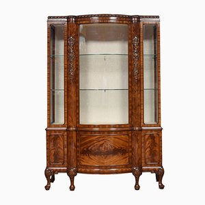 Antique Chippendale Revival Mahogany Bow Fronted Display Cabinet