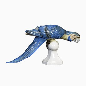 Antique Blue Macaw Sculpture from Royal Dux
