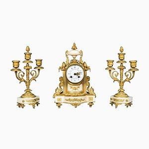 Antike weiße französische Marmor Uhr von H & F Paris