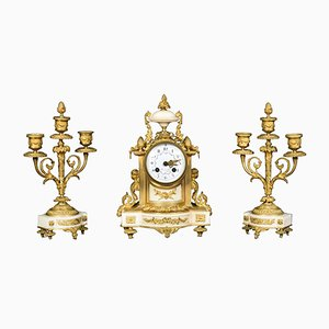 Orologio antico in marmo bianco di H & F Paris, Francia