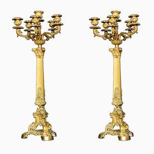 19th Century Gilt Metal Five Branch Candelabras, Set of 2