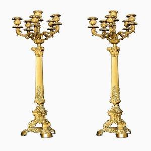 Candelabri a cinque braccia in metallo dorato, XIX secolo, set di 2