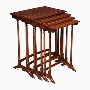 Tables Gigognes Antiques en Acajou Marqueté, Set de 4