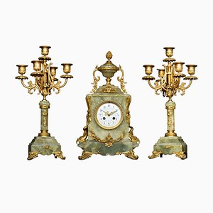 19th-Century French Onyx and Gilt Metal Clock Set