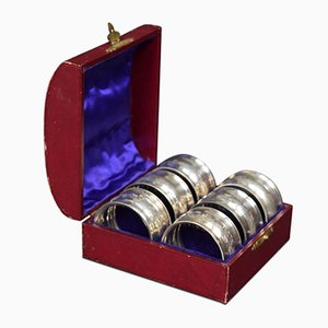 Portatovaglioli in argento con scatola in legno di Chester, 1902, set di 6
