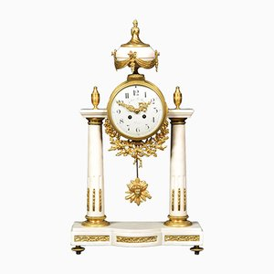 19th Century French White Marble Mantle Clock from Julien Le Roy