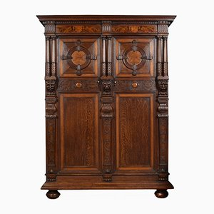 Antique Carved Oak Two Door Inlaid Cupboard