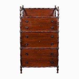 Antique Faux Bamboo & Mahogany Chest of Drawers
