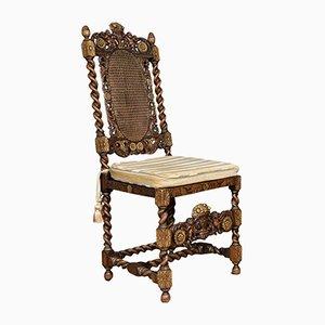 Antike Stühle aus vergoldetem Nussholz mit hoher Rückenlehne, 8er Set