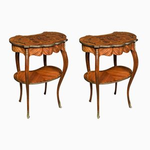 Antique Walnut Inlaid Kidney-Shaped Side Tables, Set of 2
