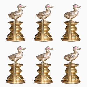 Silver Duck Menu Holders, 1980s, Set of 6