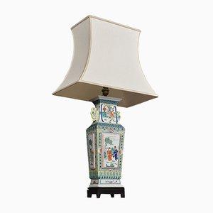 Antike Famille Rose Canton Porzellanvase & Lampe