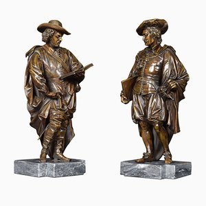 18th Century Bronzed Figures on Marble Bases, Set of 2