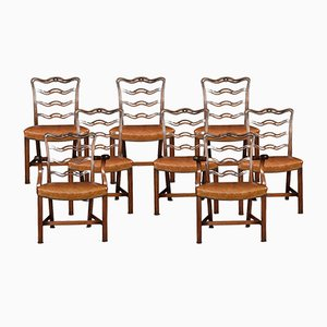Antique Mahogany Ribbon Back Dining Chairs, Set of 8