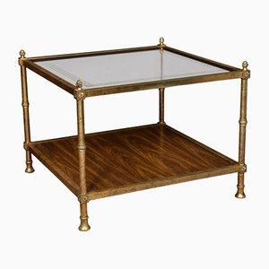 Tavolino da caffè antico in ottone e vetro