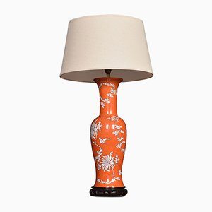 Antique Chinese Baluster-Shaped Porcelain Lamp