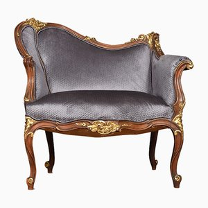 Antique Louis XV Style Gilt Walnut Salon Chair