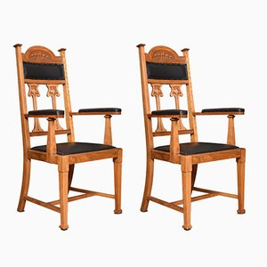 Art Nouveau High Back Oak Armchairs, Set of 2