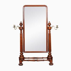 Antiker George IV Ankleide-Spiegel aus Mahagoni