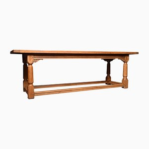 Large Antique Light Oak Refectory Dining Table