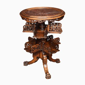 Antique Chinese Hardwood & Marble Swivel Side Table