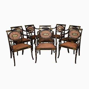Antike englische Regency Armlehnstühle aus Schilfrohr, 8er Set
